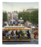 Horse And Trolley Main Street Disneyland 02 Fleece Blanket