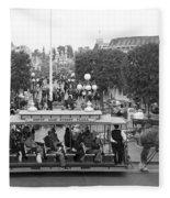 Horse And Trolley Main Street Disneyland Bw Fleece Blanket