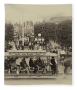 Horse And Trolley Main Street Disneyland Heirloom Fleece Blanket