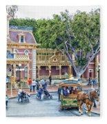 Horse And Trolley Turning Main Street Disneyland 01 Fleece Blanket
