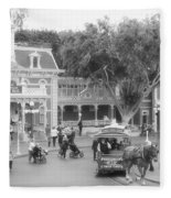 Horse And Trolley Turning Main Street Disneyland Bw Fleece Blanket