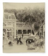 Horse And Trolley Turning Main Street Disneyland Heirloom Fleece Blanket