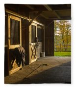 Horse Barn Sunset Fleece Blanket