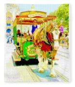 Horse Drawn Trolley Car Main Street Usa Fleece Blanket