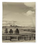 Horse Farm Sepia Fleece Blanket