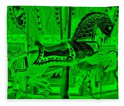 Green Horse E Fleece Blanket