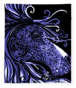 Horse Head Blues Fleece Blanket