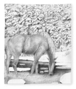 Horse In Snow Fleece Blanket