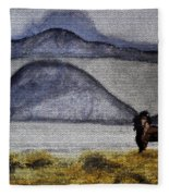 Horse Of The Mountains With Stained Glass Effect Fleece Blanket