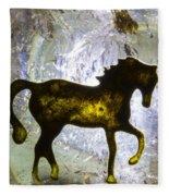 Horse On A Quartz Crystal Fleece Blanket