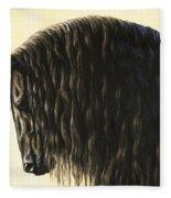 Horse Painting - Friesland Nobility Fleece Blanket