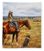 Horse Painting - Waiting For Dad Fleece Blanket