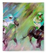 Horse Racing 04 Fleece Blanket