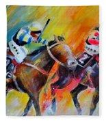 Horse Racing 05 Fleece Blanket