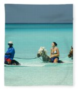 Horse Riders In The Surf Fleece Blanket
