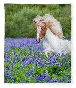 Horse Running By Lupines. Purebred Fleece Blanket