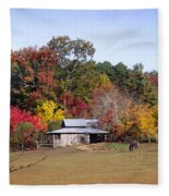 Horses And Barn In The Fall 2 Fleece Blanket
