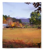 Horses And Barn In The Fall 4 Fleece Blanket