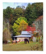 Horses And Barn In The Fall Fleece Blanket