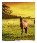 Horses At Sunset Fleece Blanket