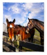 Horses At The Fence Fleece Blanket
