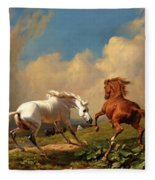 Horses Balking At Approaching Storm Fleece Blanket