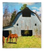 Horses Call This Old Barn Home Fleece Blanket