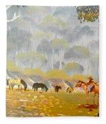 Horses Drinking In The Early Morning Mist Fleece Blanket