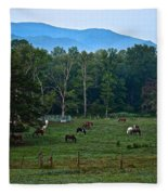 Horses Graze At Dawn Fleece Blanket