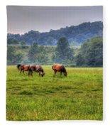 Horses In A Field 2 Fleece Blanket