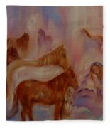 Horses In Heaven Fleece Blanket
