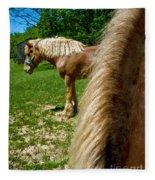 Horses In Meadow Fleece Blanket