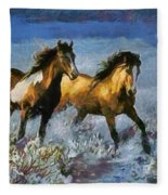 Horses In Water Fleece Blanket