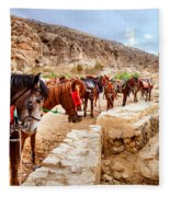 Horses Of Petra Fleece Blanket