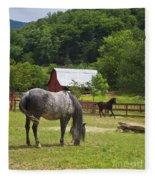 Horses On A Farm Fleece Blanket