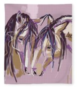 horses Purple pair Fleece Blanket