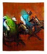Horses Racing 01 Fleece Blanket