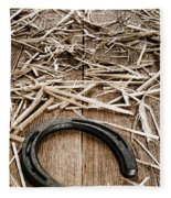 Horseshoe On Barn Floor Fleece Blanket