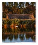 Horsey Mere On The Norfolk Broads On A Still Day In Autumn Fleece Blanket