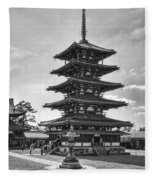 Horyu-ji Temple Pagoda B W - Nara Japan Fleece Blanket