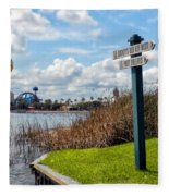 Hot Air Balloon And Old Key West Port Orleans Signage Disney World Fleece Blanket