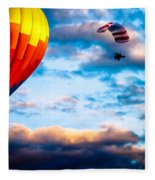 Hot Air Balloon And Powered Parachute Fleece Blanket