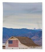 Hot Air Balloon Boulder Flag Barn And Eldora  Fleece Blanket