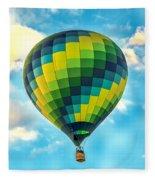 Hot Air Balloon Checkerboard Fleece Blanket