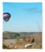 Hot Air Balloon Over Farm Land Fleece Blanket