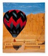 Hot Air Balloon Over Thebes Temple Fleece Blanket