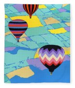Abstract Hot Air Balloons - Ballooning - Pop Art Nouveau Retro Landscape - 1980s Decorative Stylized Fleece Blanket