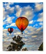 Hot Air Balloons Over Trees Fleece Blanket