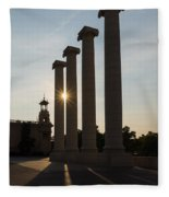 Hot Barcelona Afternoon - Magnificent Columns And Brilliant Sun Flares Fleece Blanket