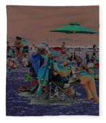 Hot Day At The Beach - Solarized Fleece Blanket